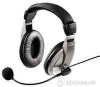 """Hama 00053994 """"AH-100"""" PC Headset with microphone, Black/Silver, Frequency Range (Headphone): 20 Hz-18 kHz, Frequency Range (Microphone): 30 Hz - 16 kHz, Sensitivity (Headphone): 95, Sensitivity (Microphone): -60 dB +/- 3 dB, Connection: 3.5 mm Jack"""
