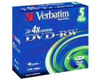DVD-RW 4X 4.7GB MATT SILVER 5PK JC DATALIFE