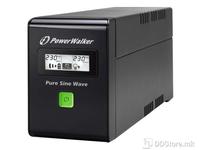 UPS PowerWalker 600VA/360W 2xSkhuko 1xRJ45/RJ11 USB LCD Line-Interactive Pure Sine Wave