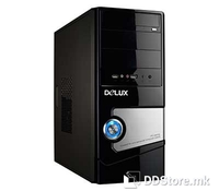 Delux DLC-MV850 High glossy Midi tower ATX Case Black/Silver front panel, mainchassis in black color, with intel TAC2.0 side plate (w/o air duct), Ports: 2 x USB, Mic&Audio pins,  Power supply ATX 450W, With real 250W, 20+4PIN, 2 x big 4PIN, 1 x smal