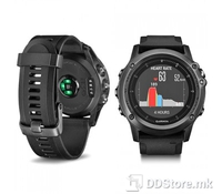GARMIN Fenix 3 Sapphire HR – Gray with black silicone band, Ексклузивен Мултиспорт рачен часовник со вграден GPS+GLONASS и Stainless Steel EXO антена, Специјално стакло од Сафи