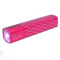 Power Bank Halo for Smartphone and Tablet 3000mAh w/ LED Flashlight Pink Lattice