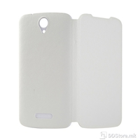 Flip Case for DOOGEE X6 / X6 Pro Leather White + Tempered Glass