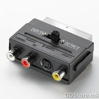 11.99.4410-50 Scart Adapter, Scart/M to SVHS/F + 3xRCA/F, w/switch, tin-plated, black