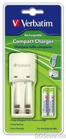 Battery Charger Verbatim Compact + 2AAA 1000mah Batteries