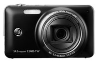 "General Electric E1486TW Black with TOUCHSCREEN, 14 Mpixels, 8x optical zoom, metal body, 28mm wide angle lens, HD Video, HDMI, 3.0"" display, Optical I.S., face and smile detection, Lithium-ion, SDHC"