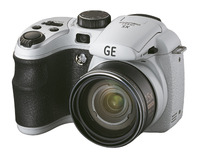 """General Electric X5 White, 14.1 Mpixels, 15x optical zoom, 28mm wide angle lens, VGA video, 2.7"""" display, Optical I.S., face and smile detection, AA batteries, SDHC"""