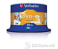 Verbatim DVD-R,4.7Gb 16x, Printable, spindle/ cake of 50 43533/43649