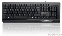 Delux DLK-6010P Patent Mute Standard Keyboard, Keystroke lifetime: 10 million cycles, Injection black, PS/2 port, MK layout, DELUX logo, Color box packing