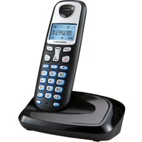 Grundig D210 Black DECT cordless phone, Blue display with Caller ID, Hands free on handset, Blue lighted keypads, 80 entries phonebook, direct key to phonebook, Alarm and clock, paging function, 10 ringtones, 300m range, 100h stand by time