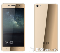 "X-BO O7 X9, Smartphone Gold + GRATIS PROTECTION COVER, 5"" 2.5D arc QHD capacitive touch screen, 960*540px, Ultra slim 8.5mm, Dual SIM, Micro SD, 3G: WCDMA 850/2100MHz, MTK6580 quad core, 1.3GHz;  GPU: Mali 450, 1GB RAM, 8GB ROM, Dual camera Front:2.0"