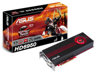 EAH6950/2DI2S/2GD5, PCIE 2.1, Radeon HD 6950, 2GB DDR5 256bit, Engine CLK (MHz) 810, Memory CLK (MHz) 4.8GHz, D-Sub Output, DVI Output x1 (DVI-I), HDMI Output x1, HDCP Support, DVI to D-Sub and DVI to HDMI adaptor, DirectCU boosts performance with su