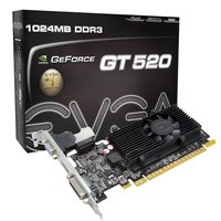 ENGT520 SILENT/DI/1GD3(LP), NVIDIA GeForce GT520 PCIE CIE 2.0, Memory 1GB, Memory Type DDR3 64 bit, Engine CLK (MHz) 810, Memory CLK (MHz) 1200MHz, Shader CLK (MHz) 1620MHz, 1X DVI-I (HDCP support), Native HDMI, 2X 1-slot LP Bracket