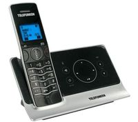Telefunken DECT Phone TC 201 with touch panel, Black, Big Blue display, Lighted keyboard, Handsfree/Speakerphone, caller ID, Alarm function, polyphonic mellodies, 50 contacts, 300m range