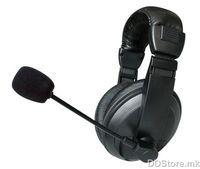 Avatec V790/SX55, Fashion stereo headphone with flexible mic and volume control, Color: Black