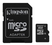 Kingston 8GB microSDHC Class 10 w/SD Adapter