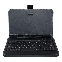 "X5TECH 7"" TABLET COVER with integrated keyboard, Color BLACK, with MICRO USB connection and MICRO TO MINI USB Adapter"