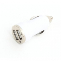 USB Universal Car Charger Omega 2.1A Dual Socket White