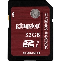 Secure Digital Kingston 32GB SDHC High Speed Class10 UHS-I U3 90MB Read/80MB Write for 4K Video