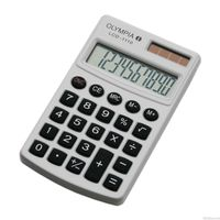 Olympia Pocket Calculator LCD 1110, White, Pocket calculator, Metallic housing, Key material: Rubber, Type of display: LCD, 10-digit display, 1-line, Battery and solar operation, Memory function, With case/protective cover