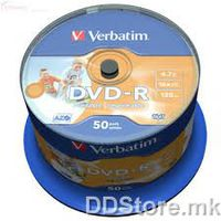 DVD+R Verbatim 4.7GB 16x 50pcs Spindle Printable