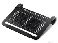 CoolerMaster R9-NBC-U2PK-GP PLUS, NotePal U2 Plus Dual FAN Black Portable cooling pad up to 17""