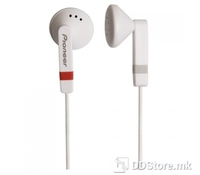 Pioneer SE-CE511-H, Dynamic In Ear headphones, white, Frequency response 20-21000 Hz, Impedance 32 ohms, Max input power 100mW, Sensitivity 104dB, 15.4mm driver units, 3.5mm connector, 1.2m cord length