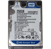 2.5 250GB SATA  2.5, 250GB, 8MB, SATA II, Scorpio Blue, SATA 3 Gb/s, 9.5 mm, 7 mm (LPVT models), 12.5 mm (TPVT models), Factory recertified by WD