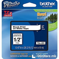 Brother P-touch label tape TZE231 white/black (8m x 12mm)