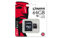 Kingston 64GB microSDHC Class 10 UHS-I 45MB/s Read Card + SD Adapter, SDCX10G2/64GB