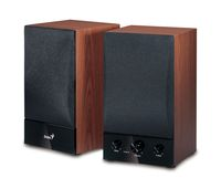 Genius SP-HF1250B, 40W wood, volume, treble, bass controls, headphone jack (Replace 1255A)