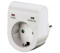 Hama 47771 Surge Protection Adapter, 1 Schuko port, white