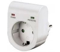 Hama 47771 Surge Protection Adapter, 1 Schuko port, white