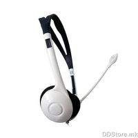 Avatec V681/SX750, Stereo headphone with flexible mic and volume control, Color: White