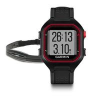 GARMIN Forerunner 25 HRM black-red, SMART Рачен часовник за трчање со вграден GPS, црно/црвена боја, со вклучен мерач за отчукувања на срцето, можност да се пр