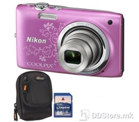 Nikon COOLPIX S2700 Pink Lineart/BAG, 16.0 Megapixels, NIKKOR lens with 6x optical zoom; 4.6-27.6 mm (35mm [135] format equivalent: 26-156 mm); f/3.5-6.5, HD Video 720p 1280x720, EXPEED C2 image processing engine,Smart portrait system, Subject tracki