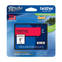 "TZe-451 Brother P-touch Label Tape 1"" (24mm) Black on Red, TZ-451"