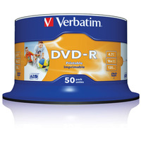 DVD-R 4.7GB 16x Verbatim 50pcs Spindle Printable Wide Inkjet ID Brand