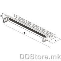 "26.20.5085-1 19"" Cable rail with 2 plastic cable lugs and brush seal, 1U"
