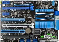 MB Asus (P8P67 LE <REV 3.0>)/Intel  Xtreme Power Phase Digital Power Design, CPU Scoket LGA1155, Chipset Intel P67 N/A, System Bus N, Memory 4DDR3(Dual Channel) 2200(O.C.)/2133(O.C.)/2000(O.C)/1800(O.C.)/1600/1333/1066, Onboard VGA N, share MEM. N, Output