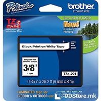 Brother P-touch label tape TZE221 black/white (9mm x 8m)