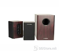 Modecom 2.1 Wood Mulitmedia Speakers MC-MSF15, Power RMS: 2.5W x 2 + 10W, Frequency response: 85Hz-20kHz, Signal input: 2 x RCA, Power: AC 230V @ 50 Hz ~ 90mA, High quality multimedia experience, Subwoofer dimensions: 155x254x225 mm, Satellite speake