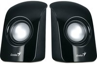 GENIUS SP-U115 BLACK USB POWER, total RMS 1.5W, 50mm speaker drivers, volume control, black with glossy front cover